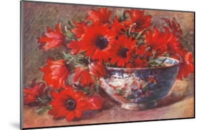 Red Flowers in Bowl--Mounted Art Print