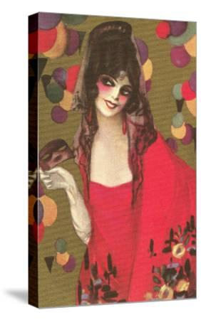 Spanish Lady with Mantilla--Stretched Canvas Print