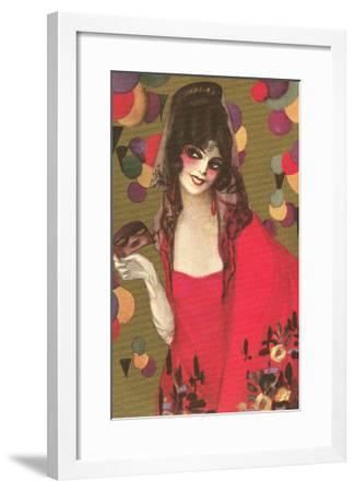 Spanish Lady with Mantilla--Framed Art Print