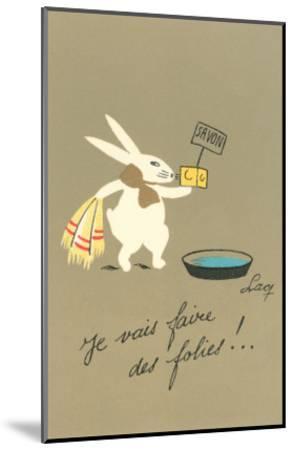 Rabbit Preparing to Bathe--Mounted Art Print