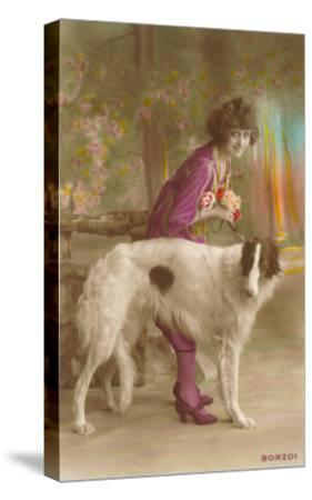 Woman in Purple with Borzoi--Stretched Canvas Print
