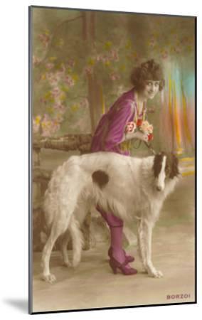 Woman in Purple with Borzoi--Mounted Art Print