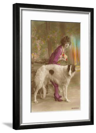 Woman in Purple with Borzoi--Framed Art Print