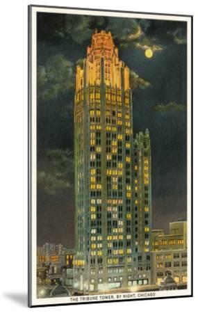 Tribune Tower by Night, Chicago, Illinois--Mounted Art Print