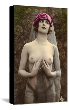 Topless Woman with Veil--Stretched Canvas Print