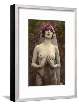Topless Woman with Veil--Framed Art Print