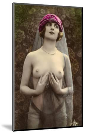 Topless Woman with Veil--Mounted Art Print