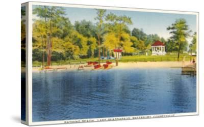 Beach, Lake Quassapaug, Waterbury, Connecticut--Stretched Canvas Print