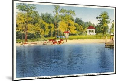 Beach, Lake Quassapaug, Waterbury, Connecticut--Mounted Art Print