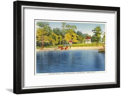 Beach, Lake Quassapaug, Waterbury, Connecticut--Framed Art Print