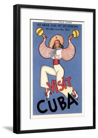 Visit Cuba, Maracas Lady--Framed Art Print