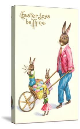 Easter Joys be Thine, Rabbit and Wheelbarrow--Stretched Canvas Print