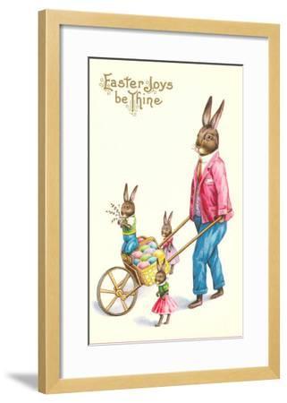 Easter Joys be Thine, Rabbit and Wheelbarrow--Framed Art Print