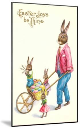 Easter Joys be Thine, Rabbit and Wheelbarrow--Mounted Art Print