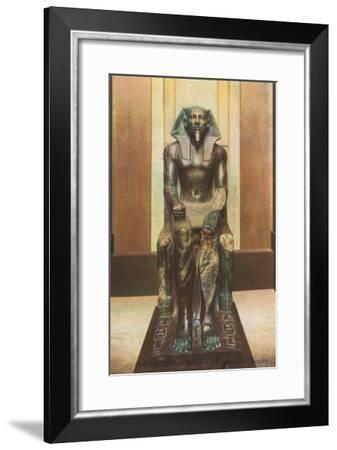 Pharaoh Statue in Cairo Museum, Egypt--Framed Art Print