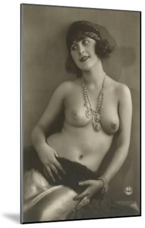 Topless Woman with Necklace--Mounted Art Print