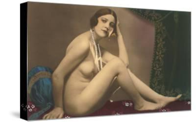 Nude with Pearls--Stretched Canvas Print