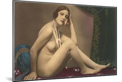 Nude with Pearls--Mounted Art Print