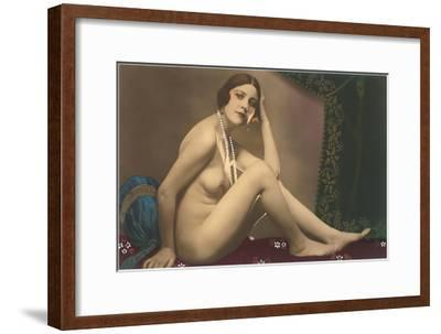 Nude with Pearls--Framed Art Print