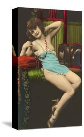 Woman in Blue Slip--Stretched Canvas Print