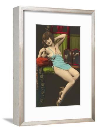Woman in Blue Slip--Framed Art Print