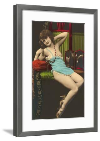 Woman in Blue Slip--Framed Art Print
