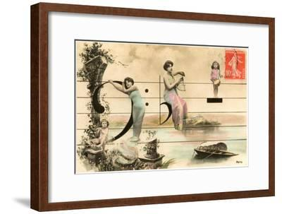 French Ladies and Girl on Musical Staff--Framed Art Print