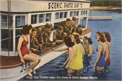 Servicemen, Bathing Girls, Silver Springs, Florida--Stretched Canvas Print