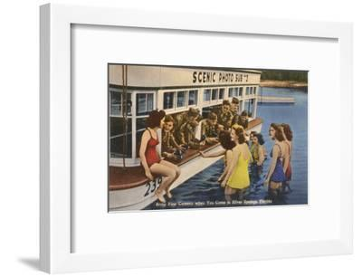 Servicemen, Bathing Girls, Silver Springs, Florida--Framed Art Print