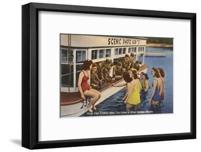 Servicemen, Bathing Girls, Silver Springs, Florida--Framed Art Print