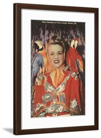Lady with Macaws, Florida--Framed Art Print