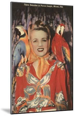 Lady with Macaws, Florida--Mounted Art Print