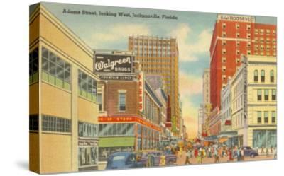 Adams Street, Jacksonville, Florida--Stretched Canvas Print