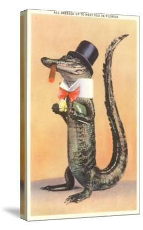 Alligator in Top Hat--Stretched Canvas Print
