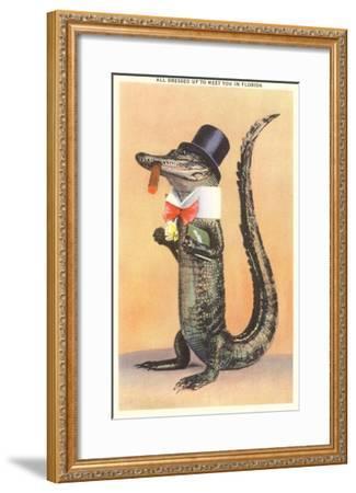 Alligator in Top Hat--Framed Art Print