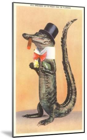 Alligator in Top Hat--Mounted Art Print