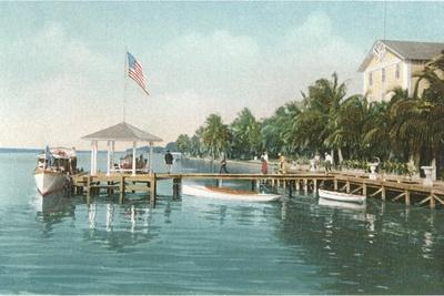 Boat Landing, Palm Beach, Florida--Stretched Canvas Print