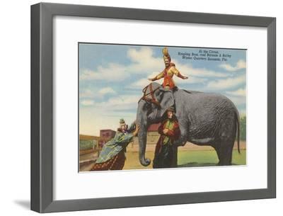 Circus Elephant and Clowns, Sarasota, Florida--Framed Art Print