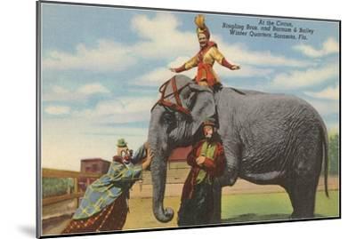 Circus Elephant and Clowns, Sarasota, Florida--Mounted Art Print