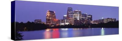 Us, Texas, Austin, Skyline, Night--Stretched Canvas Print