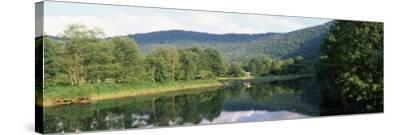 Reflection of Trees in a River, Delaware River, Delaware County, New York State, USA--Stretched Canvas Print