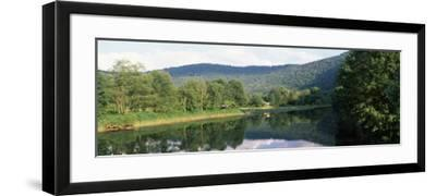 Reflection of Trees in a River, Delaware River, Delaware County, New York State, USA--Framed Photographic Print