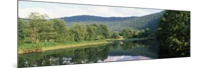 Reflection of Trees in a River, Delaware River, Delaware County, New York State, USA--Mounted Photographic Print
