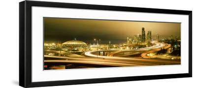 Buildings Lit Up at Night, Seattle, Washington State, USA--Framed Photographic Print