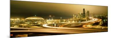 Buildings Lit Up at Night, Seattle, Washington State, USA--Mounted Photographic Print
