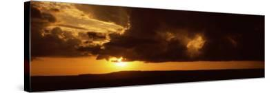 Sunset over a Landscape, Masai Mara National Reserve, Kenya--Stretched Canvas Print