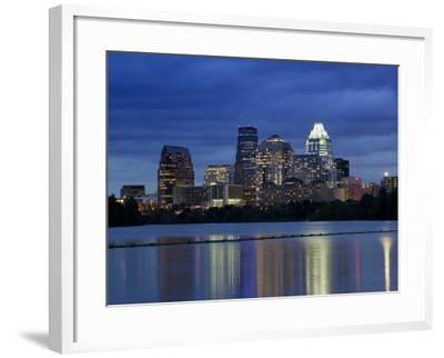 Buildings at the Waterfront Lit Up at Dusk, Town Lake, Austin, Texas, USA--Framed Photographic Print