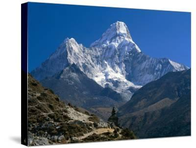 Nepal, Ama Dablam Trail, Temple in the Extreme Terrain of the Mountains--Stretched Canvas Print