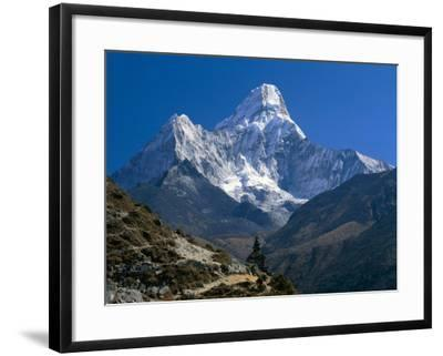 Nepal, Ama Dablam Trail, Temple in the Extreme Terrain of the Mountains--Framed Photographic Print