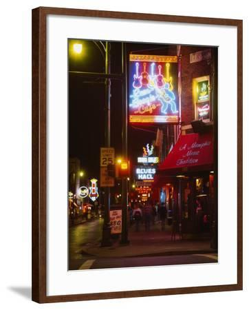 Neon Sign Lit Up at Night in a City, Rum Boogie Cafe, Beale Street, Memphis, Shelby County--Framed Photographic Print